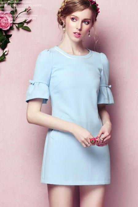 Round collar spring lantern sleeve dress