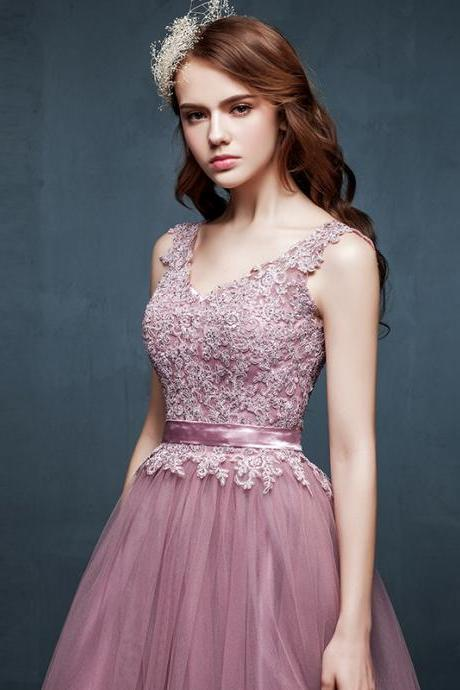 Custom Made Hand Made V Neck Lace Prom Dresses 2015, Lace Evening Dresses, Lace Formal Dresses, For Teens Modest Long Gowms
