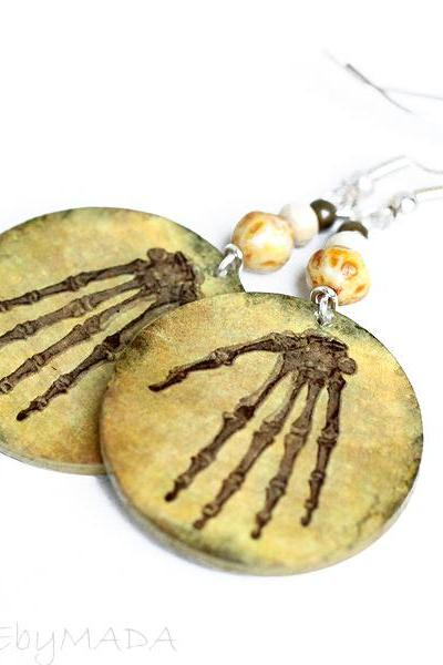 Skeleton hands Earrings Halloween Spooky Steampunk Jewelry