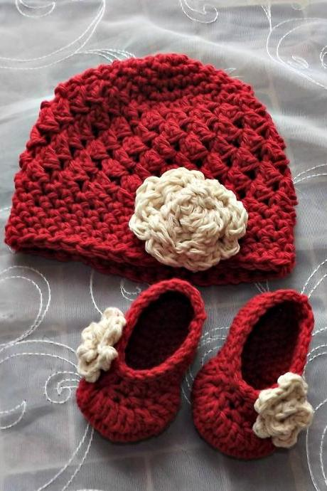 New Baby Gift antique ivory and apple red hat and booties with rose size 0 to 3 months ready to ship