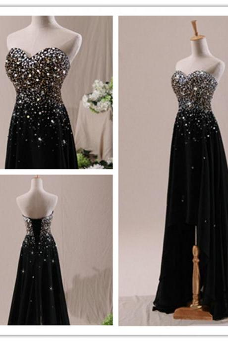 2015 fashion strapless Hi-Lo full length black beadeed prom Dresses evening dress Bridesmaid dresses custom made L41