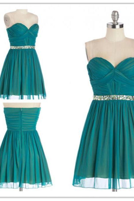 Strapless Sweetheart Ruched Beaded Short Homecoming Dress, Bridesmaid Dress, Party Dress