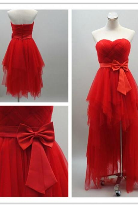 2015 fashion strapless Hi-Lo full length Red prom Dresses evening dress Bridesmaid dresses custom made L85