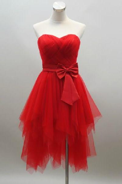 2015 fashion sweetheart knee length Red prom Dresses evening dress Bridesmaid dresses custom made L85-2