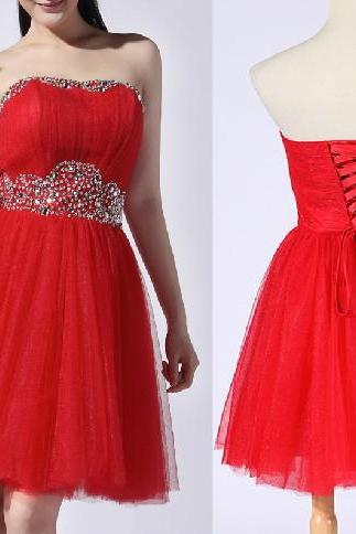 2015 fashion strapless Red tulle knee length prom Dresses evening dress Bridesmaid dresses custom made L90