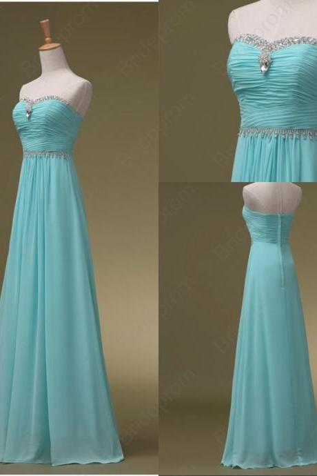 Sweetheart Beaded lovley fashion Long Blue BChiffon Prom Gown Long Evening Dress