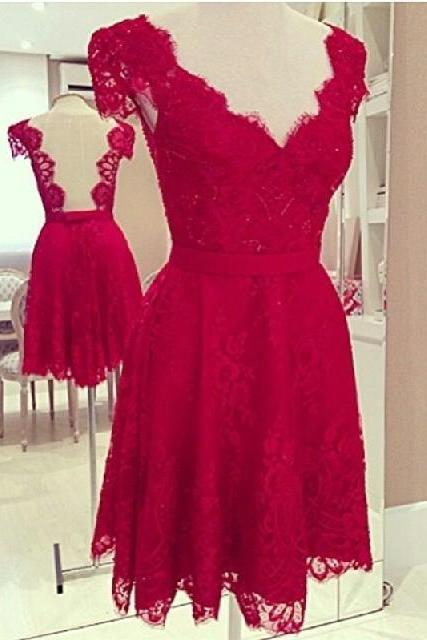 Elegant V Neck Low Back Red Lace Dress