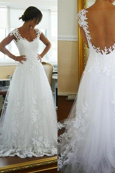 Cap Sleeves Sheer Back Appliques Lace Elegant Wedding dress Bridal Gown 2015