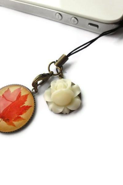 Red Brown Autumn Maple Leaf Cream Flower Iphone Dust Plug Cell Phone Strap