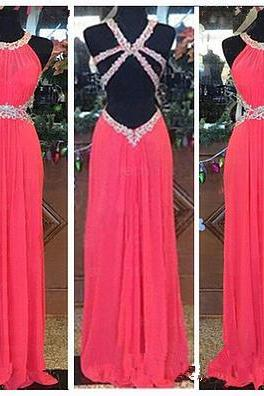 Custom Made Pretty Watermelon Backless Prom Dresses 2015, New Style Prom 2015, Prom Gown, Evening Dresses, Formal Dresses