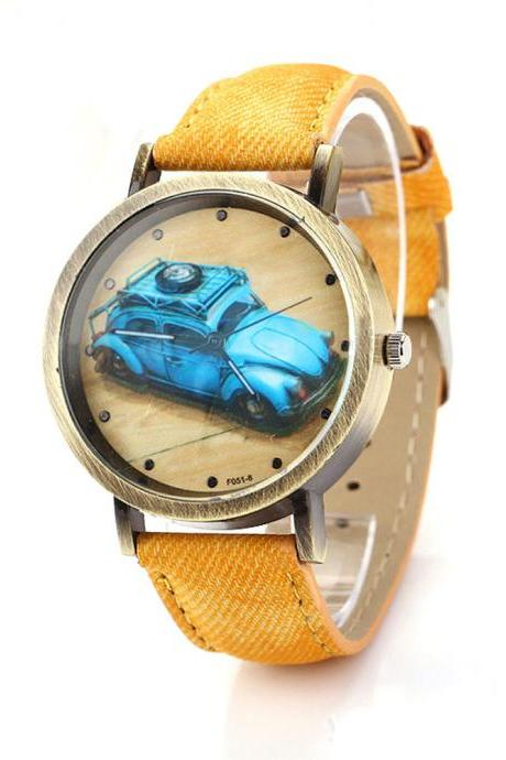 Denim-Look watch, car pattern watch, yellow leather watch, leather watch, bracelet watch, vintage watch, retro watch, woman watch, lady watch, girl watch, unisex watch, AP00200