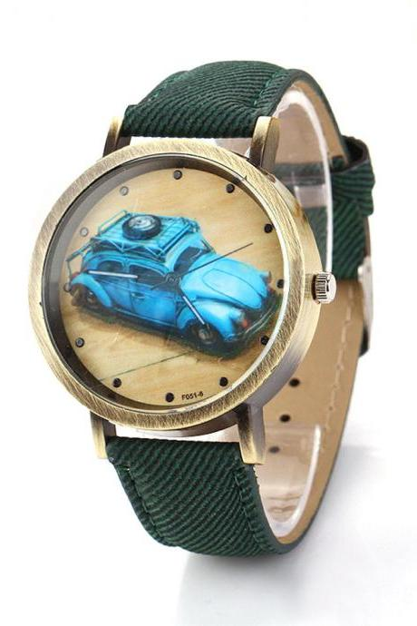 Denim-Look watch, car pattern watch, green leather watch, leather watch, bracelet watch, vintage watch, retro watch, woman watch, lady watch, girl watch, unisex watch, AP00203