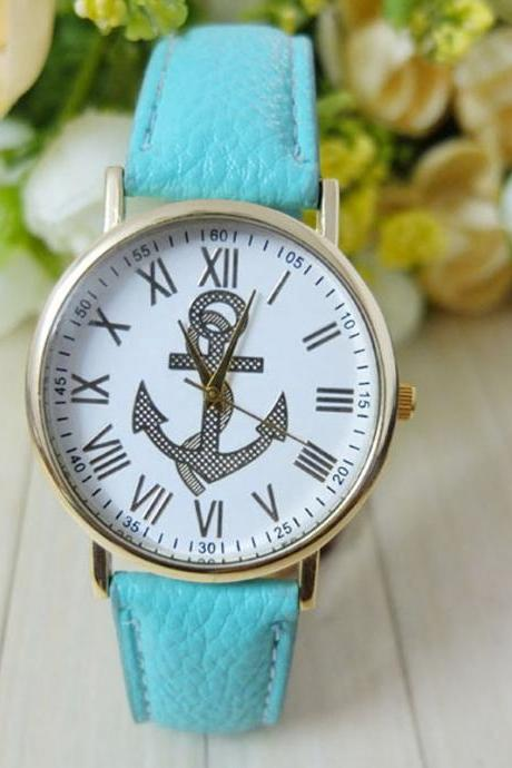Anchor watch, anchor leather watch, leather watch, bracelet watch, vintage watch, retro watch, woman watch, lady watch, girl watch, unisex watch, AP00207