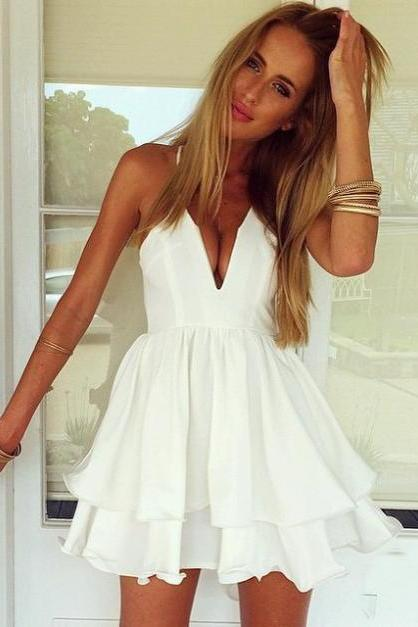 New Fashion Female Dresses Summer Women Sexy White Chiffon Spaghetti Strap Dress