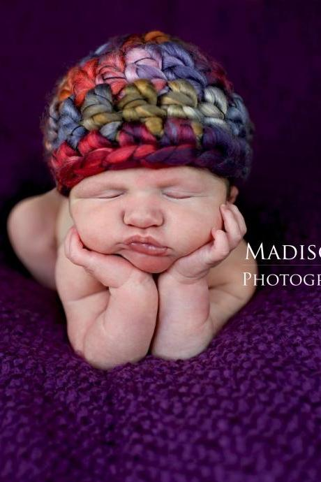 Crochet baby girl beanie hat in rainbow purple, pink, blue, tan, chunky beanie photo prop- newborn size