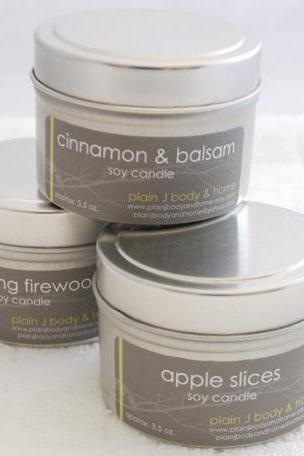 Fall Scents Candle Tin Set - Cinnamon Balsam - Apple Slices - Crackling Firewood (3 -4oz. tins)
