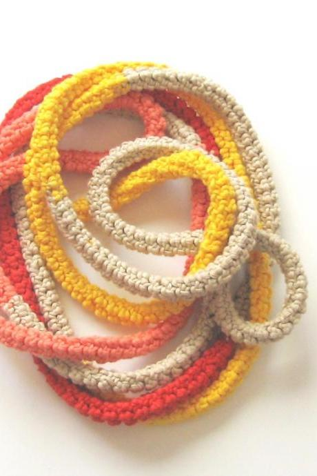 Crochet skinny scarf - knitted jewelry - extra long necklace - warm autumn colors - Natural, red, yellow and salmon pink