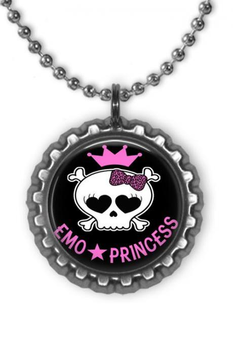 Emo Princess Black Bottle Cap Necklace