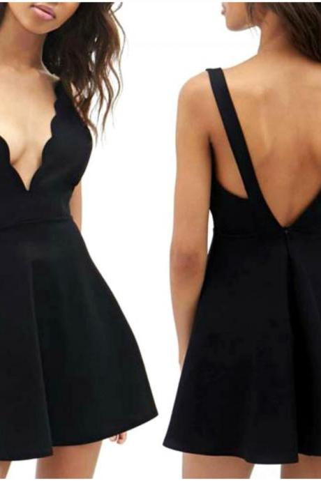Open Back V Neck Little Black Dress VG41609MN