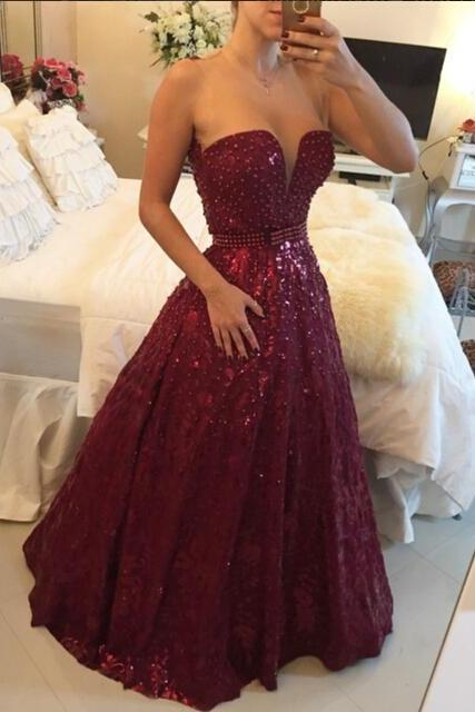 2015 Beading Lace Prom Dresses,Sweetheart Floor-Length Evening Dresses, Real Made Evening Dresses, A-Line Sequins Evening Dresses, Charming Evening Dresses