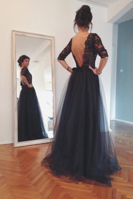 2015 Lace and Tulle Prom Dresses, Floor-Length Black Prom Dresses, Sexy Backless Prom Dresses, A-Line Prom Dresses, Charming Evening Dresses Hot Sale