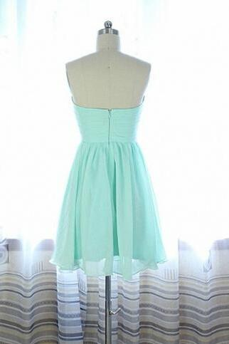 A Line Sweetheart Mint Chiffon Short Prom Dress,Simple Beaded Prom Dress, Cheap Custom Made Homecoming Dress, Communion Party Dress, Graduation Dress