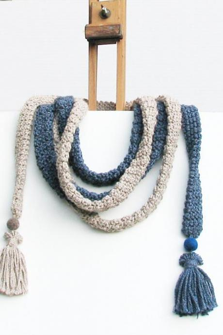 Crochet skinny scarf - extra long necklace - Cool colors cotton - Natural and blue denim