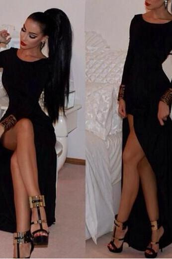 Chic Black Side Slit Long Sleeve Body Con Dress