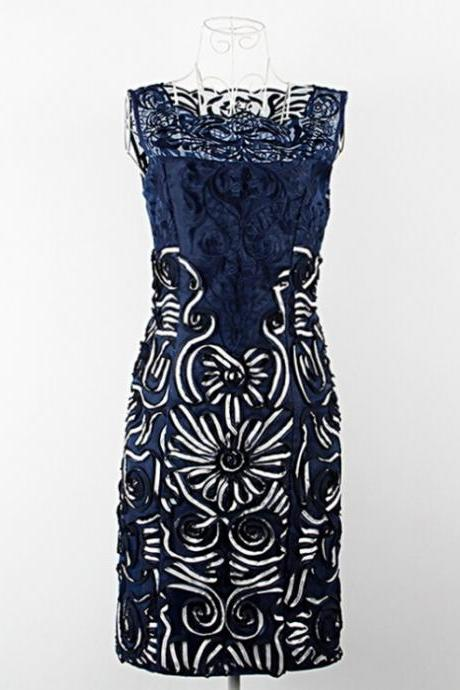 2015 European navy blue apricot lace embroidery embroidery dress