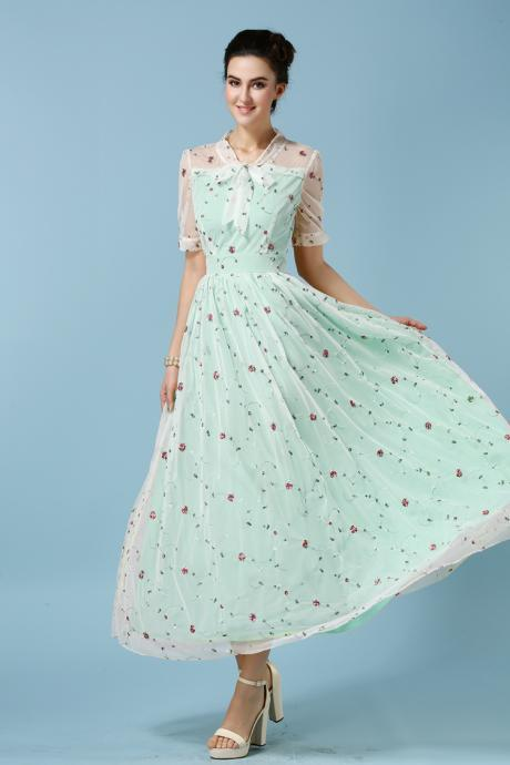 Fashion Designer Embroidered Gauze Maxi Dress - Light Blue