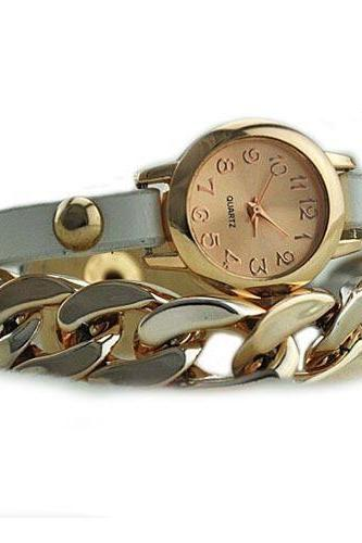 Gold colored chain - leather white band dress woman watch