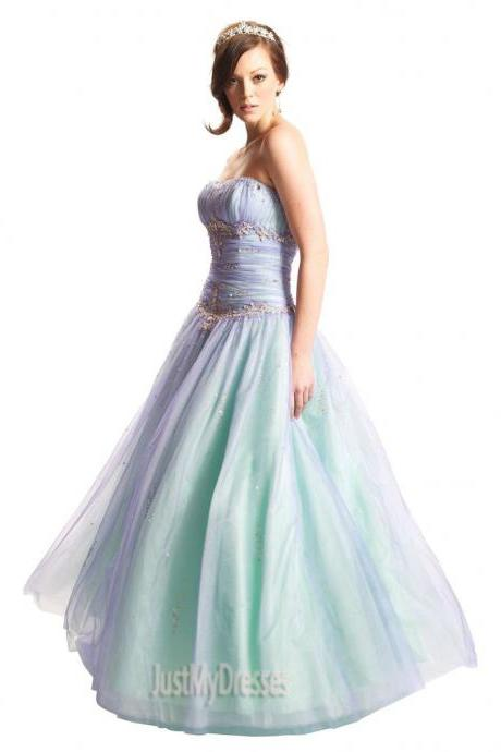 Long Dresses Beaded Mesh Organza Fairy Prom Dress Formal Ball Gown 2015