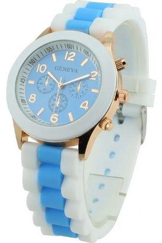 Rubber sport fashion teenage analog blue unisex watch