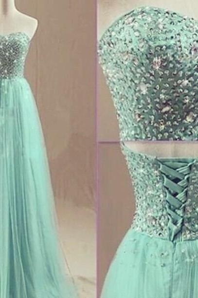Custom Made A Line Sweetheart Neck Long Green Prom Dresses, Long Green Party Dresses