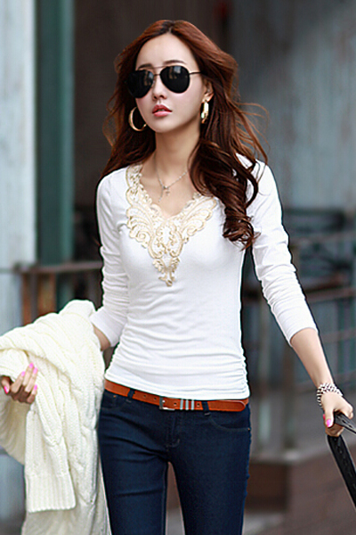 Cheap Sexy V Neck Long Sleeves Hook Flower Hollow-Out Solid White T-Shirt