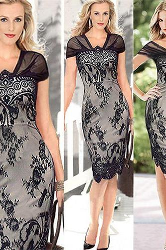 Sexy V-Neck Short Sleeve Slim Fit Lace Dress