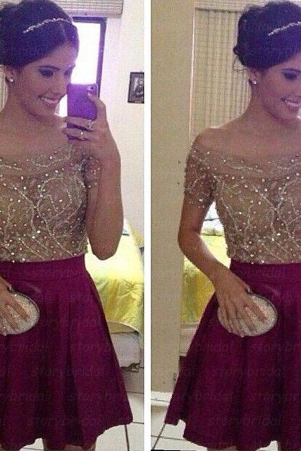 Short sleeve prom dress, short prom dress, 2015 prom dress, gorgeous prom dress, junior prom dress, short homecoming dress, BD26
