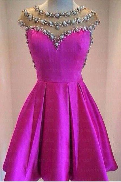 Rose red prom dress, short prom dress, short sleeve prom dress, junior prom dress, cute prom dress, BD27