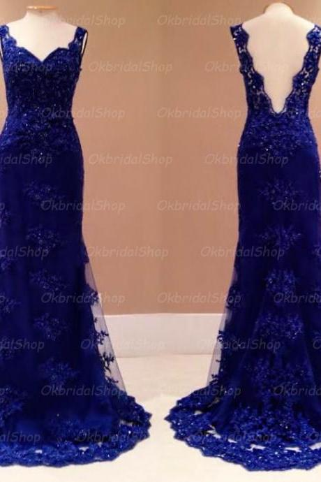 backless prom dresses, blue lace prom dress, mermaid prom dress, sexy prom dresses, formal prom dresses, 2015 prom dresses, sexy prom dresses, dresses for prom, CM401