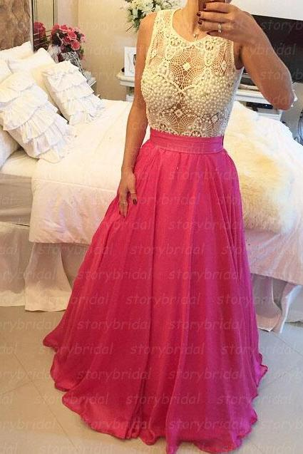 Hot pink prom dress, beading prom dress, off shoulder prom dress, long prom dress, pretty prom dress, BD33
