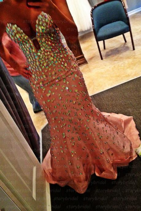 2015 prom dress, long prom dress, mermaid prom dress, sweet heart prom dress, prom dress with rhinestone, gorgeous prom dress, BD40