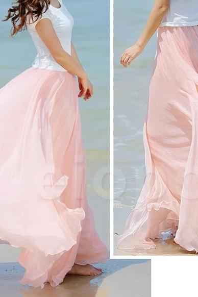 Baby Pink Long Chiffon Skirt Maxi Skirt Ladies Silk Chiffon Dress Plus Sizes Sundress Beach Skirt
