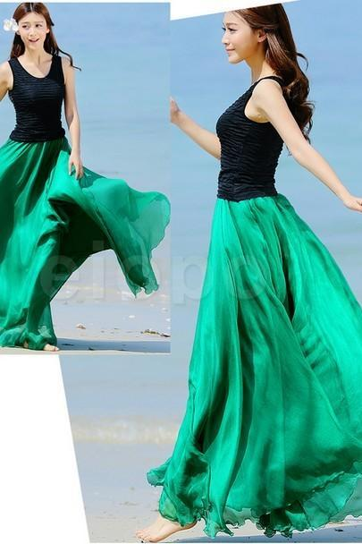 Emerald Green Long Chiffon Skirt Maxi Skirt Ladies Silk Chiffon Dress Plus Sizes Sundress Beach Skirt