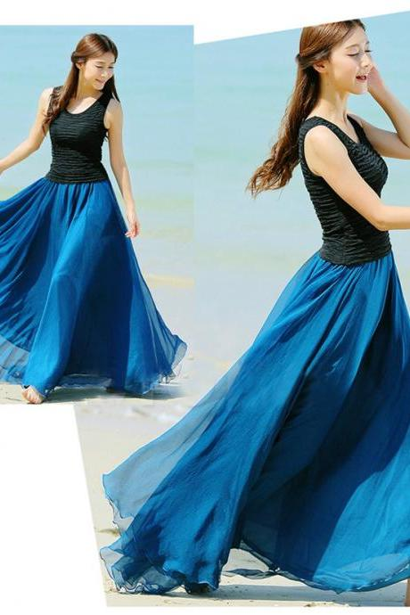 Peacock Blue Long Chiffon Skirt Maxi Skirt Ladies Silk Chiffon Dress Plus Sizes Sundress Beach Skirt