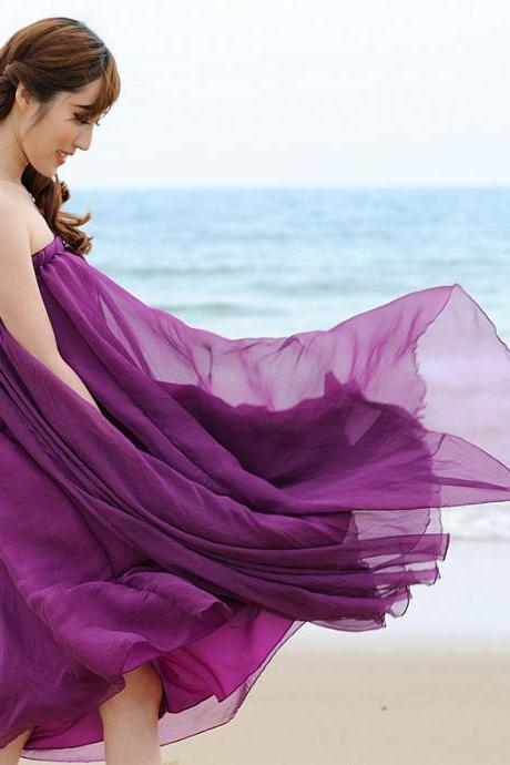 Purple Long Chiffon Skirt Maxi Skirt Ladies Silk Chiffon Dress Plus Sizes Sundress Beach Skirt