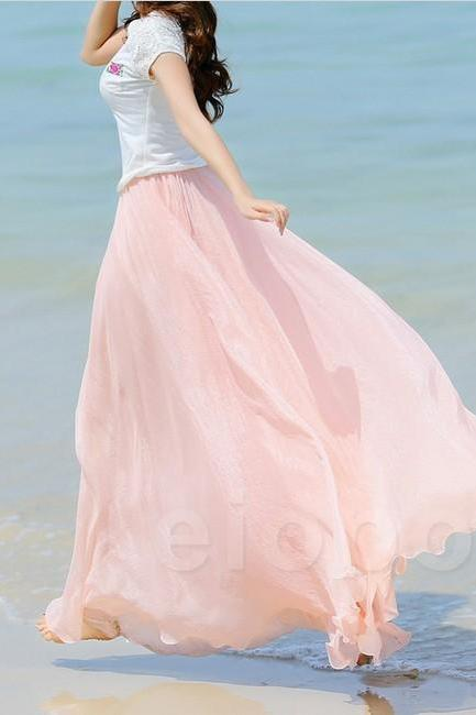 Baby Pink Long Chiffon Skirt Maxi Skirt Ladies Silk Chiffon Dress Plus Sizes Sundress Beach Skirt Oversize OIJ9IVHRAW473PG7OUIC5