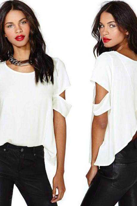 Fashion Sexy Women Short Sleeve Crew Neck Shirt Casual Chiffon Blouse Crop Tops