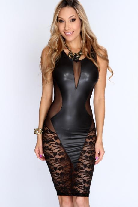 Cheap Sexy O Neck Tank Sleeveless Lace-Mesh Hollow-Out Patchwork Black Polyester Sheath Mini Dress