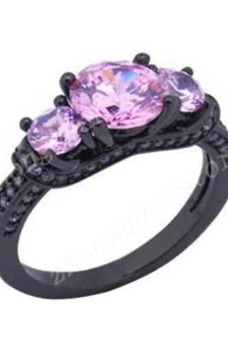 Pink Sapphire 10K Black Gold Filled Ring Size 6