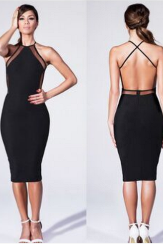 USA STOCK S-XXL 2015 Party Dresses Black Mesh Panel Back Criss Cross Midi Pencil Slimming Fitted n Bandage Dress